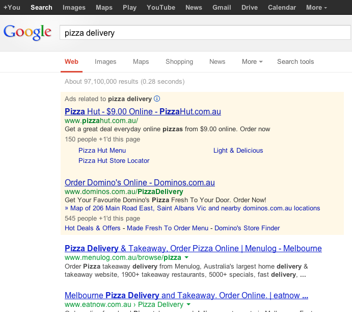 Pizza Offer Google Ad
